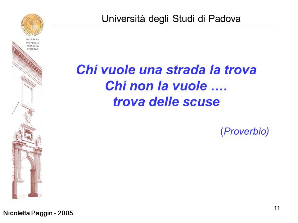 11 Università degli Studi di Padova Chi vuole una strada la trova Chi non la vuole …. trova delle scuse (Proverbio) Nicoletta Paggin - 2005