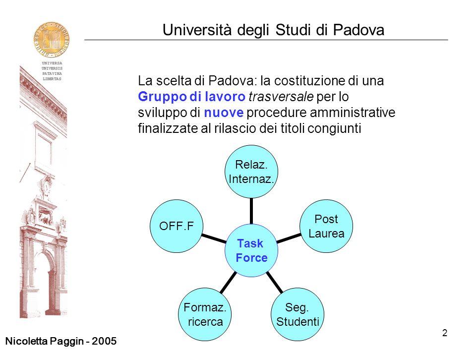 2 Università degli Studi di Padova La scelta di Padova: la costituzione di una Gruppo di lavoro trasversale per lo sviluppo di nuove procedure amminis