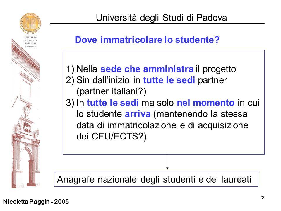 5 Università degli Studi di Padova 1)Nella sede che amministra il progetto 2)Sin dallinizio in tutte le sedi partner (partner italiani?) 3)In tutte le