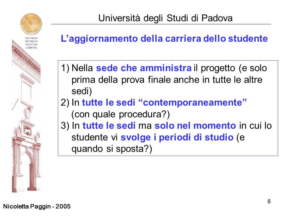 6 Università degli Studi di Padova Laggiornamento della carriera dello studente 1)Nella sede che amministra il progetto (e solo prima della prova fina