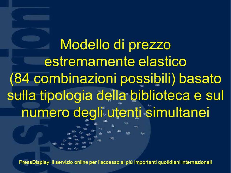 PressDisplay: il servizio online per l'accesso ai più importanti quotidiani internazionali Modello di prezzo estremamente elastico (84 combinazioni po