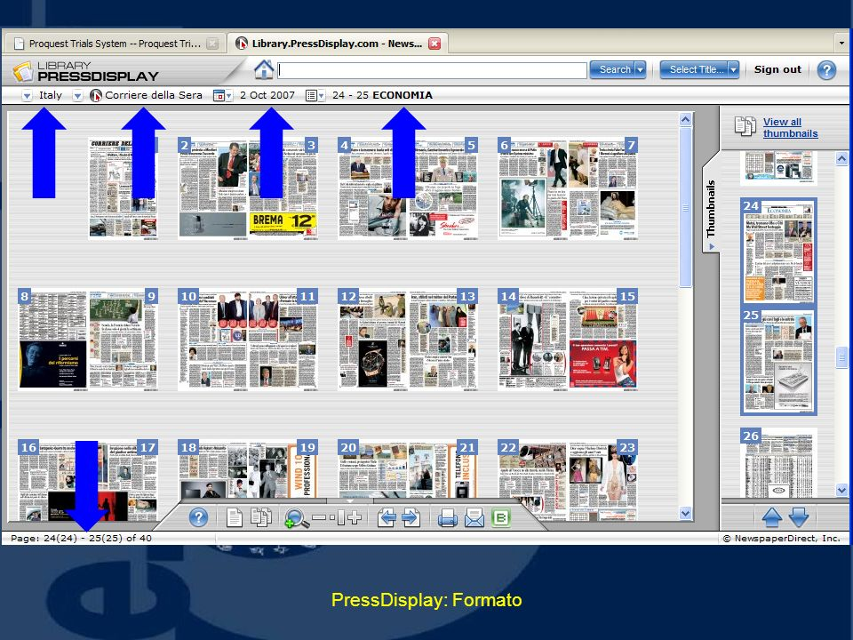 PressDisplay: Formato