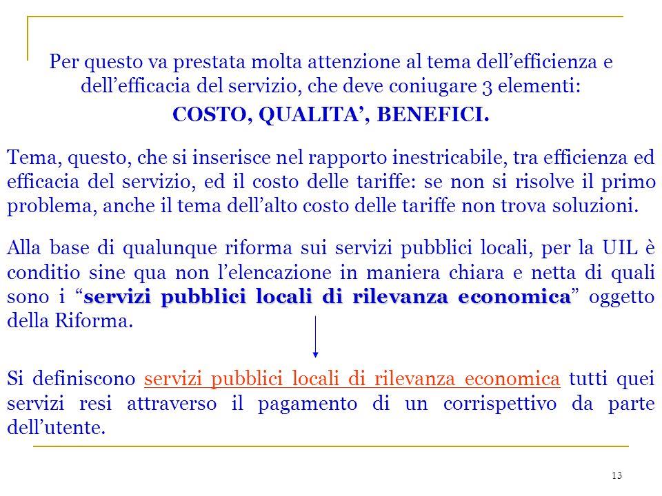13 Per questo va prestata molta attenzione al tema dellefficienza e dellefficacia del servizio, che deve coniugare 3 elementi: COSTO, QUALITA, BENEFICI.