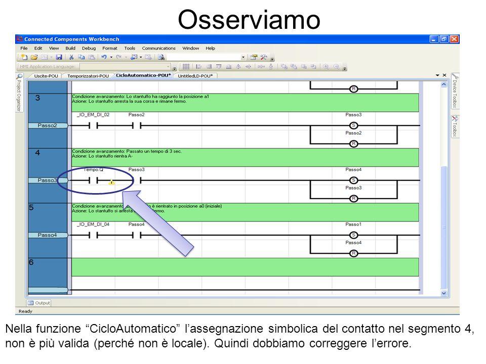 Osserviamo Nella funzione CicloAutomatico lassegnazione simbolica del contatto nel segmento 4, non è più valida (perché non è locale). Quindi dobbiamo