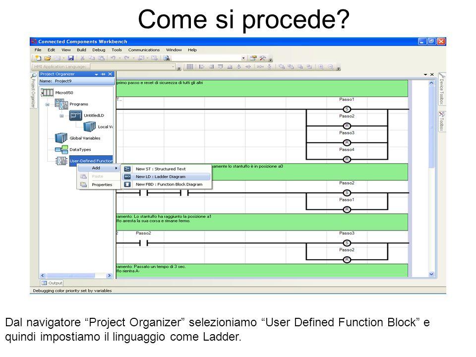 Come si procede? Dal navigatore Project Organizer selezioniamo User Defined Function Block e quindi impostiamo il linguaggio come Ladder.