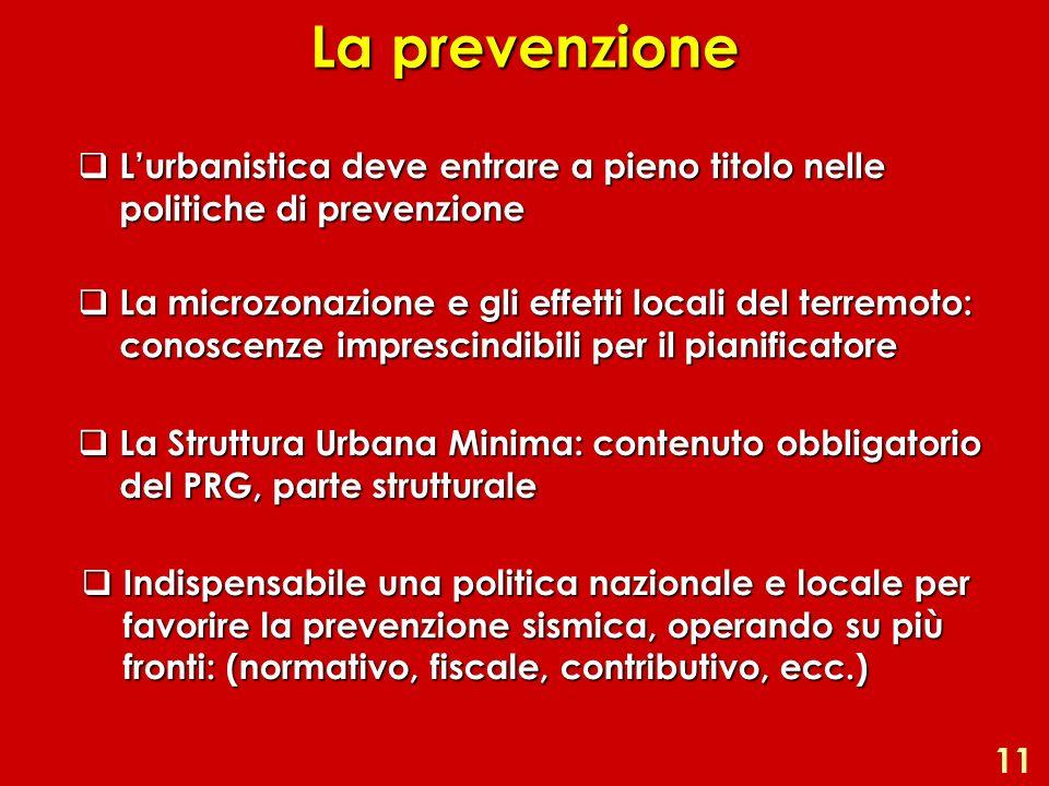 La prevenzione Lurbanistica deve entrare a pieno titolo nelle politiche di prevenzione Lurbanistica deve entrare a pieno titolo nelle politiche di pre