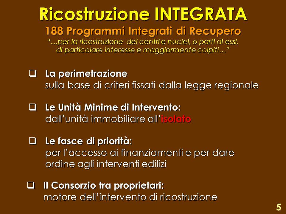Ricostruzione INTEGRATA 188 Programmi Integrati di Recupero …per la ricostruzione dei centri e nuclei, o parti di essi, di particolare interesse e mag