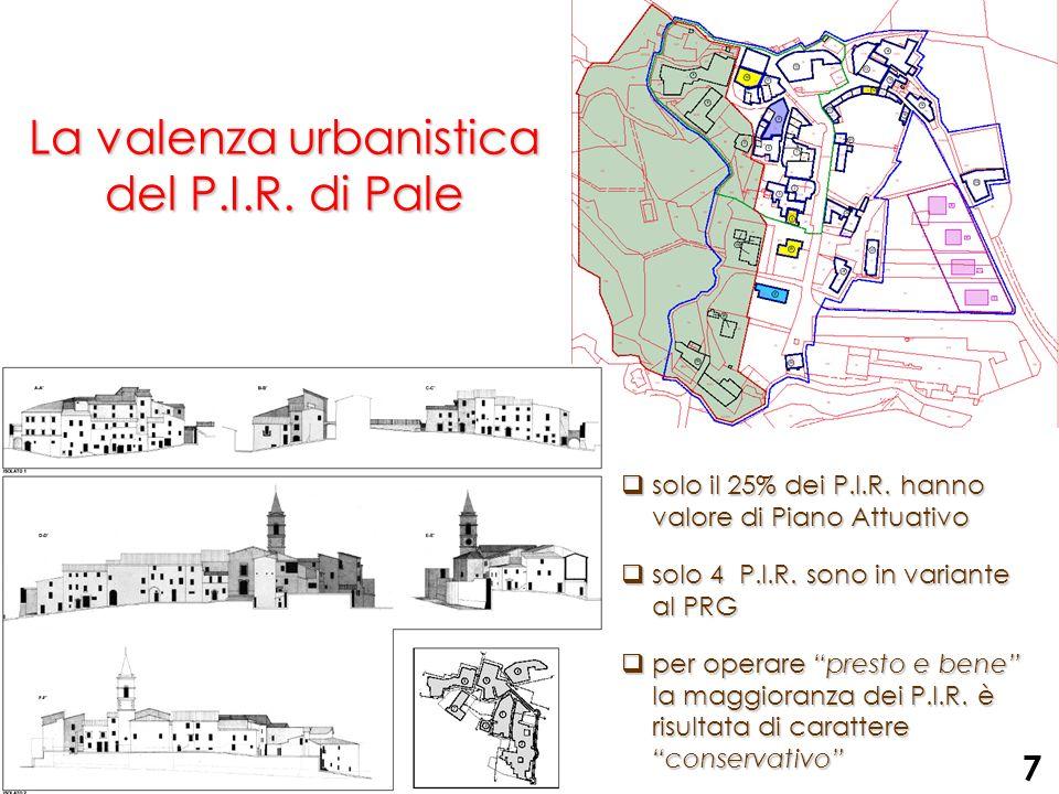 La valenza urbanistica del P.I.R. di Pale solo il 25% dei P.I.R. hanno valore di Piano Attuativo solo il 25% dei P.I.R. hanno valore di Piano Attuativ