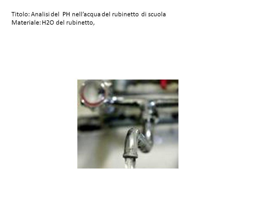 Titolo: Analisi del PH nellacqua del rubinetto di scuola Materiale: