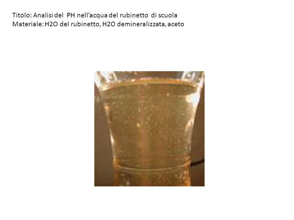 Titolo: Analisi del PH nellacqua del rubinetto di scuola Materiale: H2O del rubinetto, H2O demineralizzata