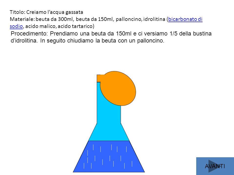 Titolo: Creiamo lacqua gassata Materiale: beuta da 300ml, beuta da 150ml, palloncino, idrolitina (bicarbonato di sodio, acido malico, acido tartarico)