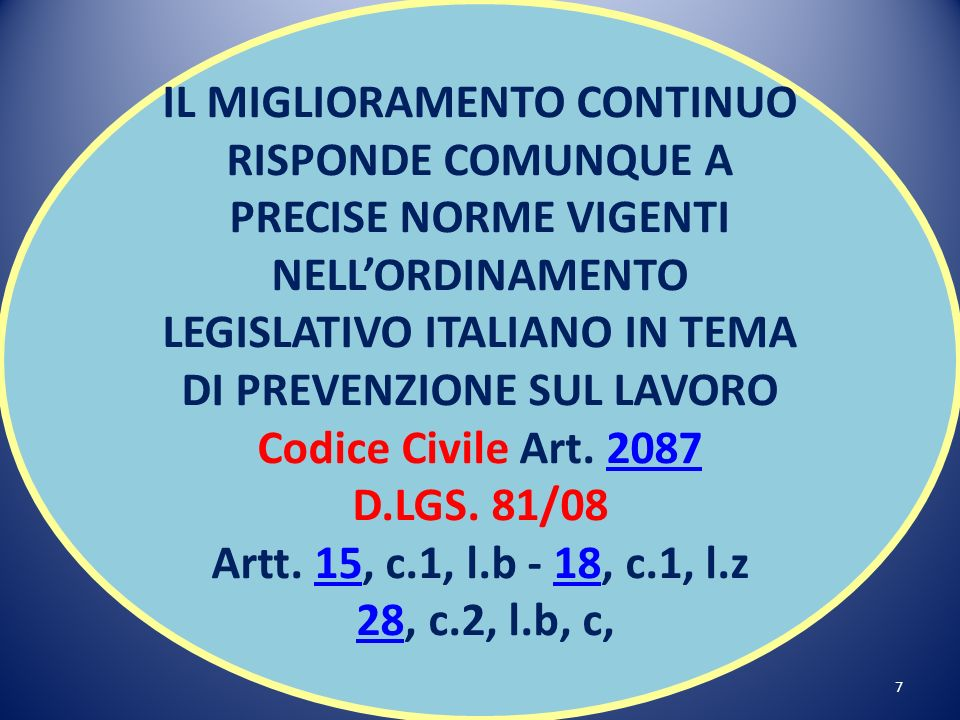 7 IL MIGLIORAMENTO CONTINUO RISPONDE COMUNQUE A PRECISE NORME VIGENTI NELLORDINAMENTO LEGISLATIVO ITALIANO IN TEMA DI PREVENZIONE SUL LAVORO Codice Civile Art.