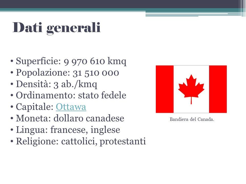 Dati generali Superficie: 9 970 610 kmq Popolazione: 31 510 000 Densità: 3 ab./kmq Ordinamento: stato fedele Capitale: OttawaOttawa Moneta: dollaro ca