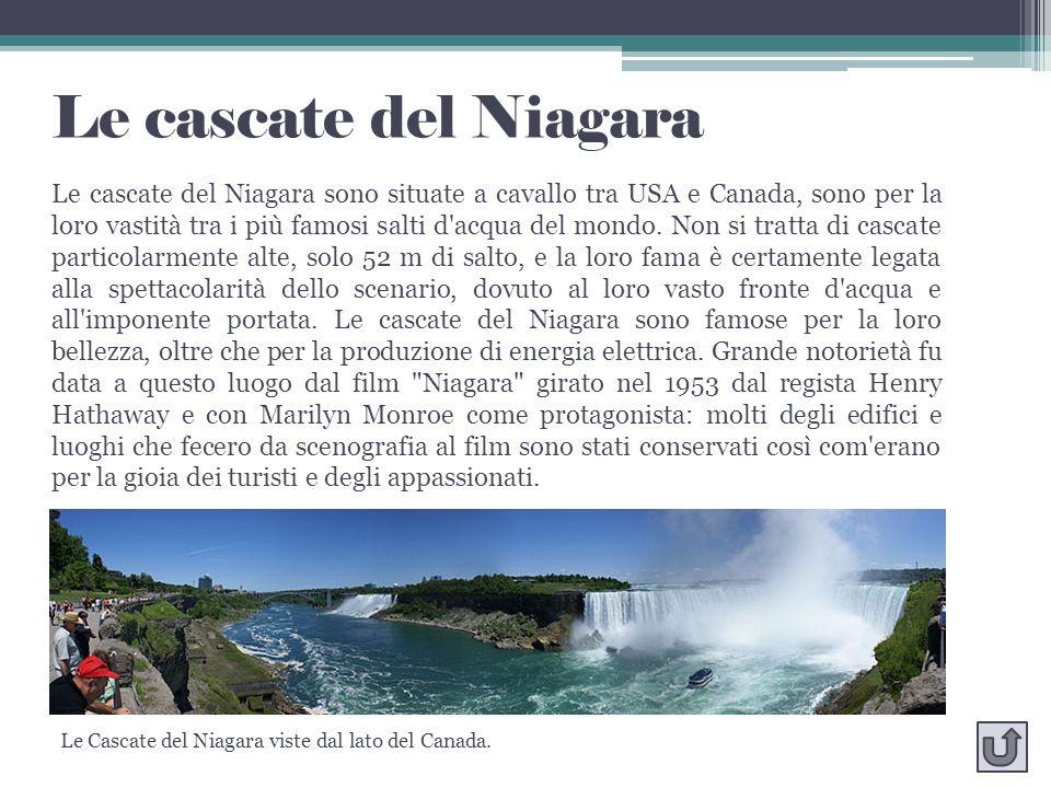 Le cascate del Niagara Le cascate del Niagara sono situate a cavallo tra USA e Canada, sono per la loro vastità tra i più famosi salti d'acqua del mon