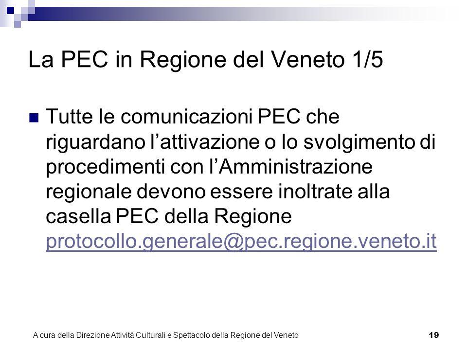 A cura della Direzione Attività Culturali e Spettacolo della Regione del Veneto 18 Come funziona la PEC della Regione del Veneto