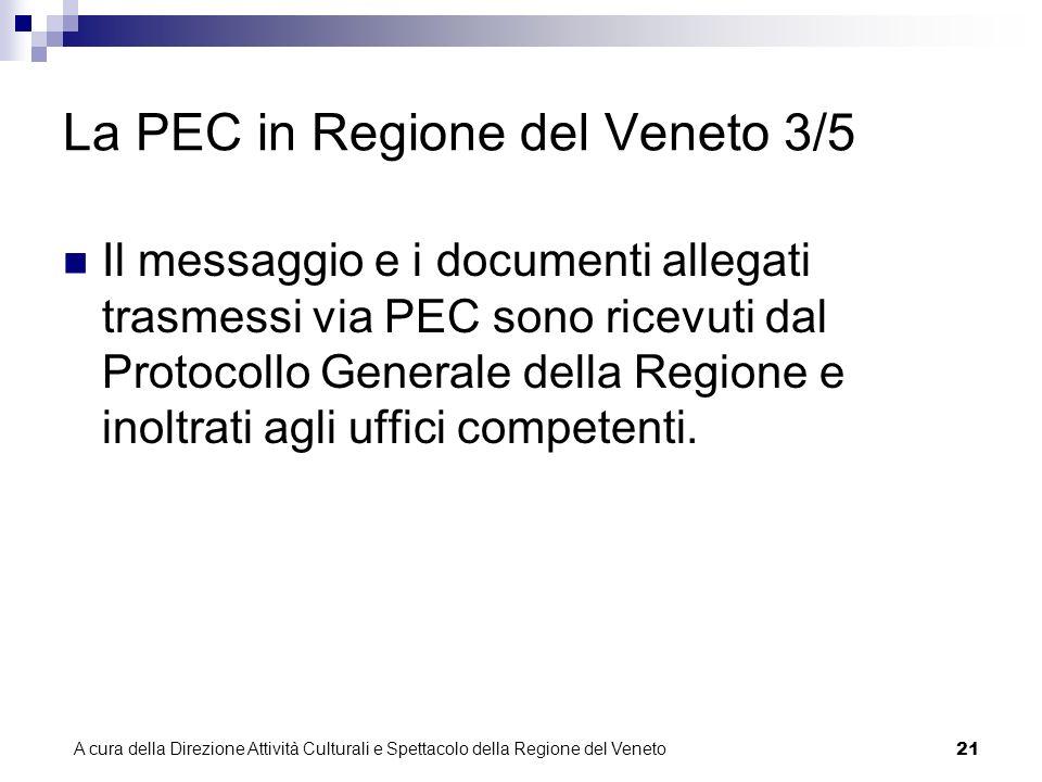 A cura della Direzione Attività Culturali e Spettacolo della Regione del Veneto 20 La PEC in Regione del Veneto 2/5 Attenzione.
