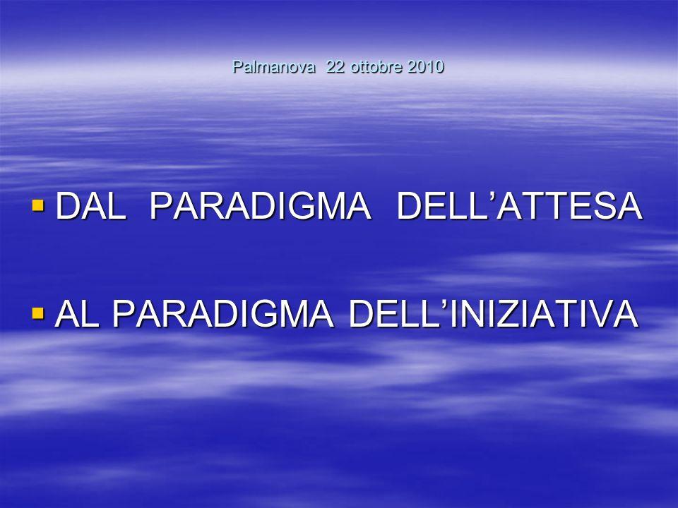 Palmanova 22 ottobre 2010 DAL PARADIGMA DELLATTESA DAL PARADIGMA DELLATTESA AL PARADIGMA DELLINIZIATIVA AL PARADIGMA DELLINIZIATIVA