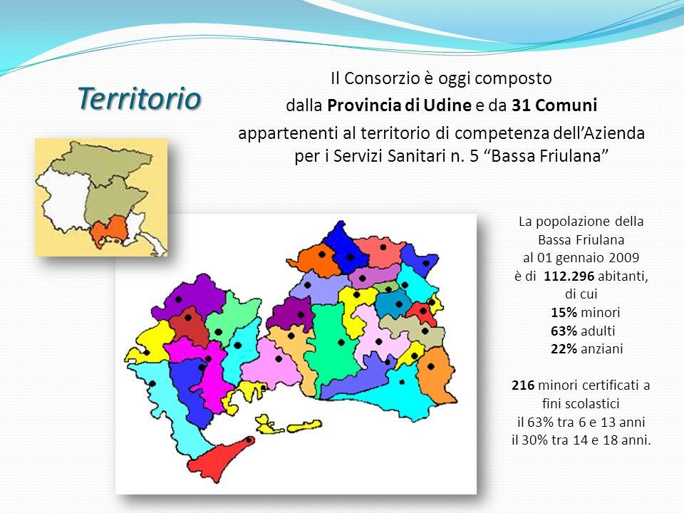Territorio Il Consorzio è oggi composto dalla Provincia di Udine e da 31 Comuni appartenenti al territorio di competenza dellAzienda per i Servizi San