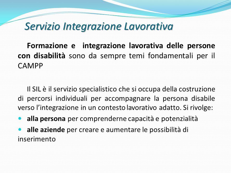 Servizio Integrazione Lavorativa Formazione e integrazione lavorativa delle persone con disabilità sono da sempre temi fondamentali per il CAMPP Il SI