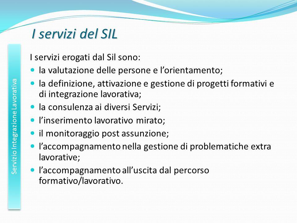 I servizi del SIL Servizio Integrazione Lavorativa I servizi erogati dal Sil sono: la valutazione delle persone e lorientamento; la definizione, attiv