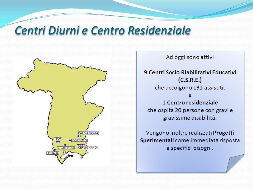 Centri Diurni e Centro Residenziale Ad oggi sono attivi 9 Centri Socio Riabilitativi Educativi (C.S.R.E.) che accolgono 131 assistiti, e 1 Centro resi