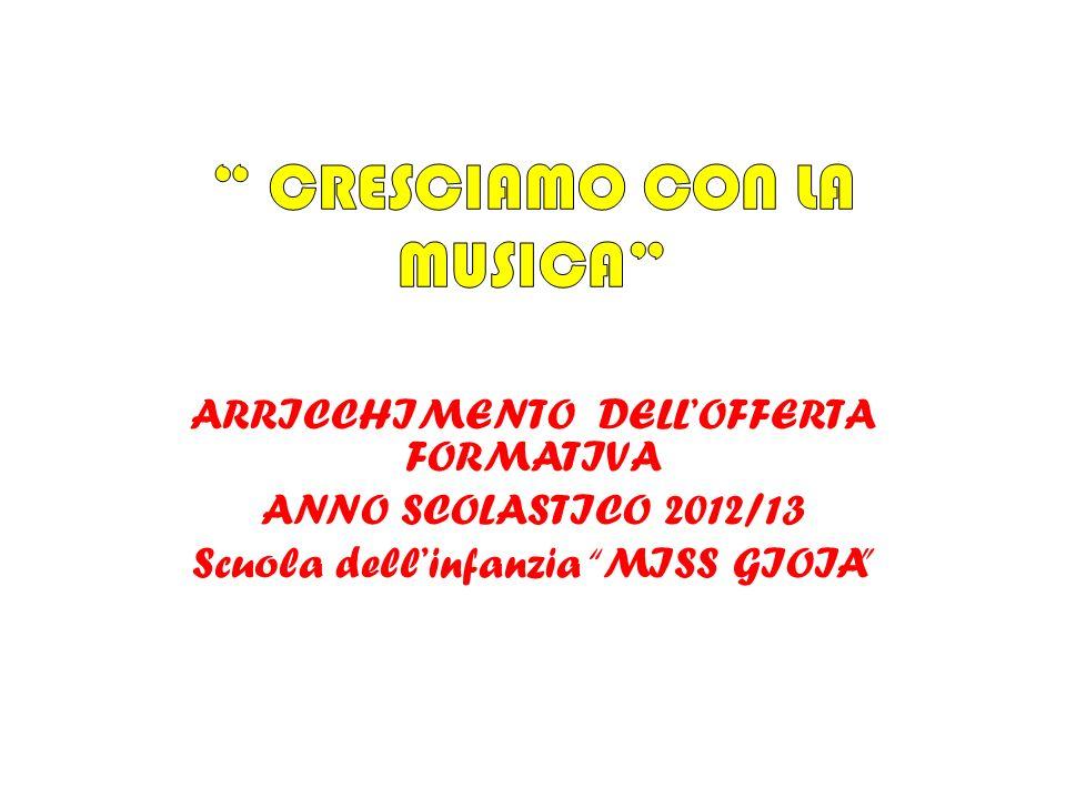 ARRICCHIMENTO DELLOFFERTA FORMATIVA ANNO SCOLASTICO 2012/13 Scuola dellinfanzia MISS GIOIA