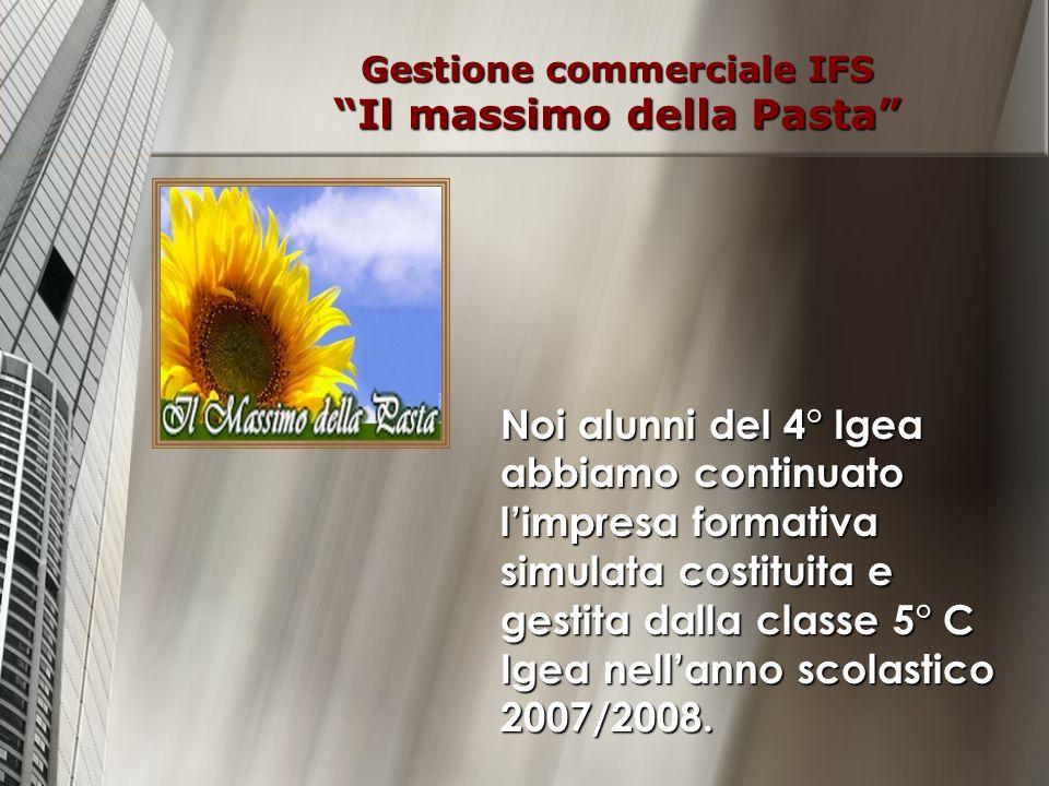 Gestione commerciale IFS Il massimo della Pasta Noi alunni del 4° Igea abbiamo continuato limpresa formativa simulata costituita e gestita dalla class