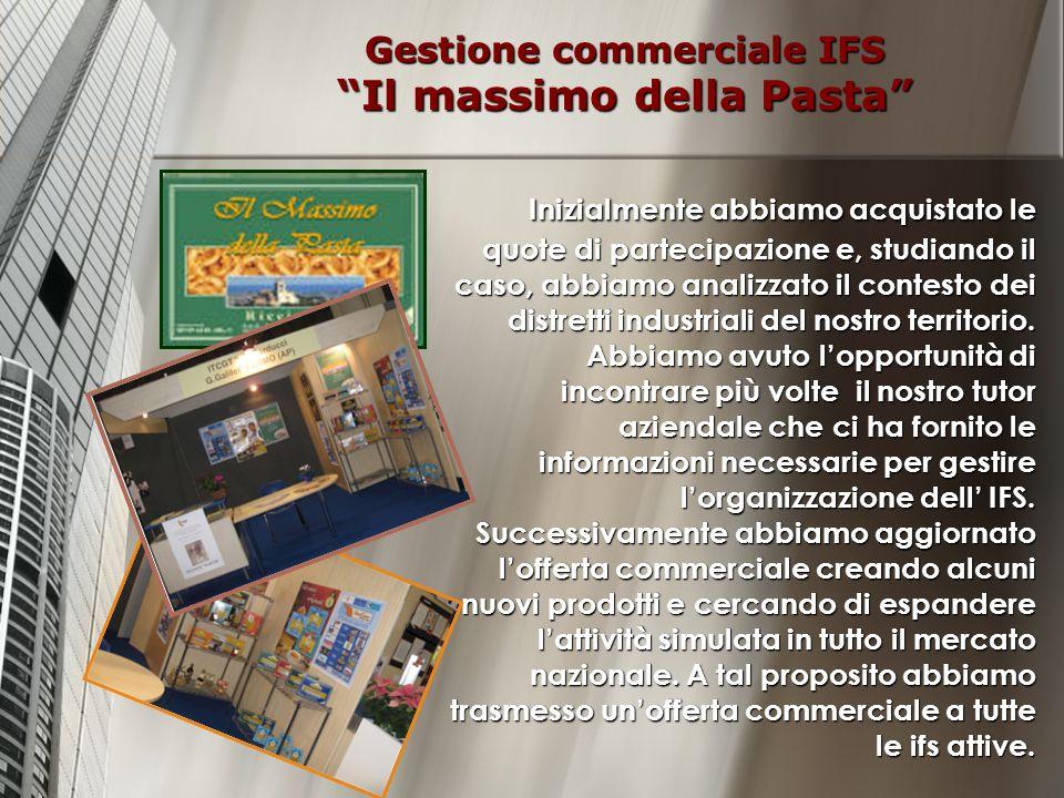 Gestione commerciale IFS Il massimo della Pasta Inizialmente abbiamo acquistato le quote di partecipazione e, studiando il caso, abbiamo analizzato il