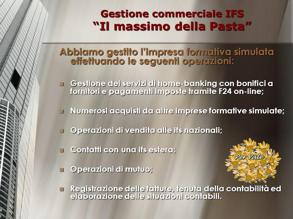 Gestione commerciale IFS Il massimo della Pasta Abbiamo gestito limpresa formativa simulata effettuando le seguenti operazioni: Gestione dei servizi d