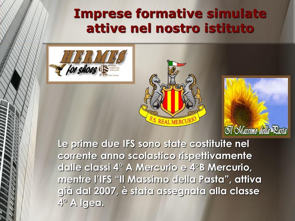 Imprese formative simulate attive nel nostro istituto Le prime due IFS sono state costituite nel corrente anno scolastico rispettivamente dalle classi