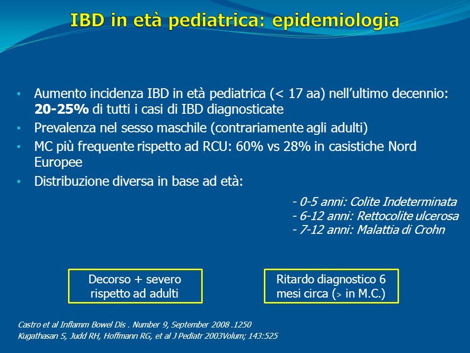 Aumento incidenza IBD in età pediatrica (< 17 aa) nellultimo decennio: 20-25% di tutti i casi di IBD diagnosticate Prevalenza nel sesso maschile (cont