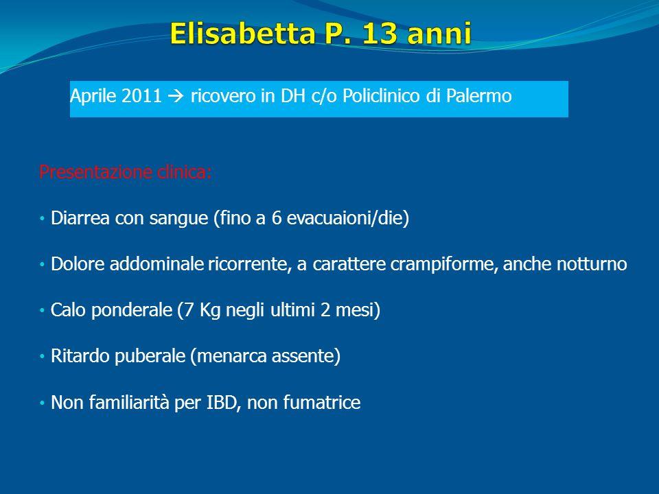 Presentazione clinica: Diarrea con sangue (fino a 6 evacuaioni/die) Dolore addominale ricorrente, a carattere crampiforme, anche notturno Calo pondera