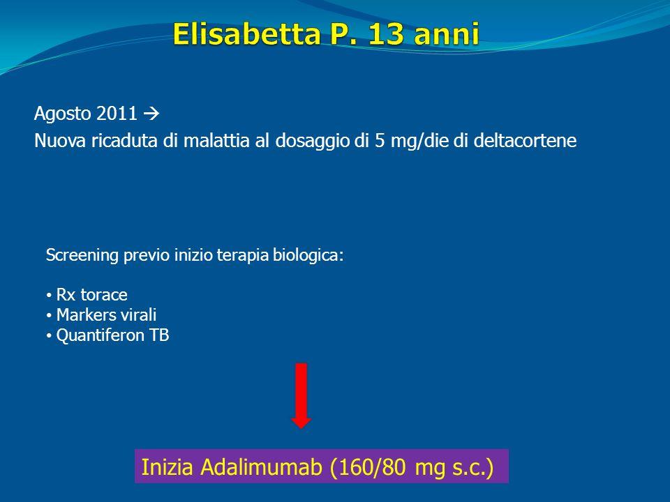 Agosto 2011 Nuova ricaduta di malattia al dosaggio di 5 mg/die di deltacortene Screening previo inizio terapia biologica: Rx torace Markers virali Qua