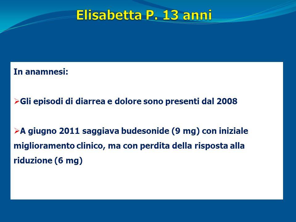In anamnesi: Gli episodi di diarrea e dolore sono presenti dal 2008 A giugno 2011 saggiava budesonide (9 mg) con iniziale miglioramento clinico, ma co