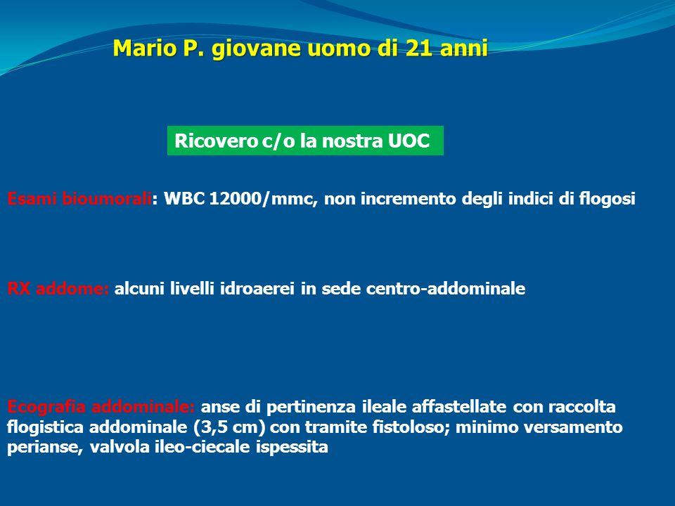 Mario P. giovane uomo di 21 anni Ricovero c/o la nostra UOC RX addome: alcuni livelli idroaerei in sede centro-addominale Ecografia addominale: anse d
