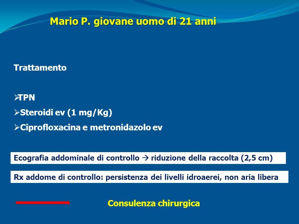 Trattamento TPN Steroidi ev (1 mg/Kg) Ciprofloxacina e metronidazolo ev Ecografia addominale di controllo riduzione della raccolta (2,5 cm) Rx addome