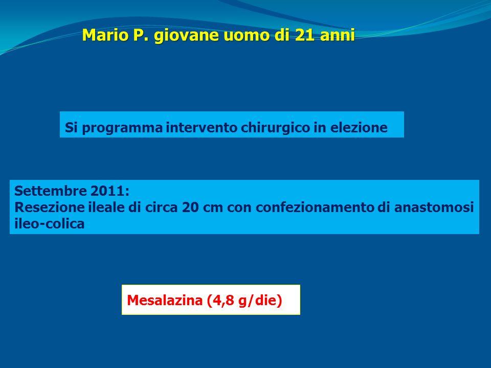 Mario P. giovane uomo di 21 anni Si programma intervento chirurgico in elezione Settembre 2011: Resezione ileale di circa 20 cm con confezionamento di