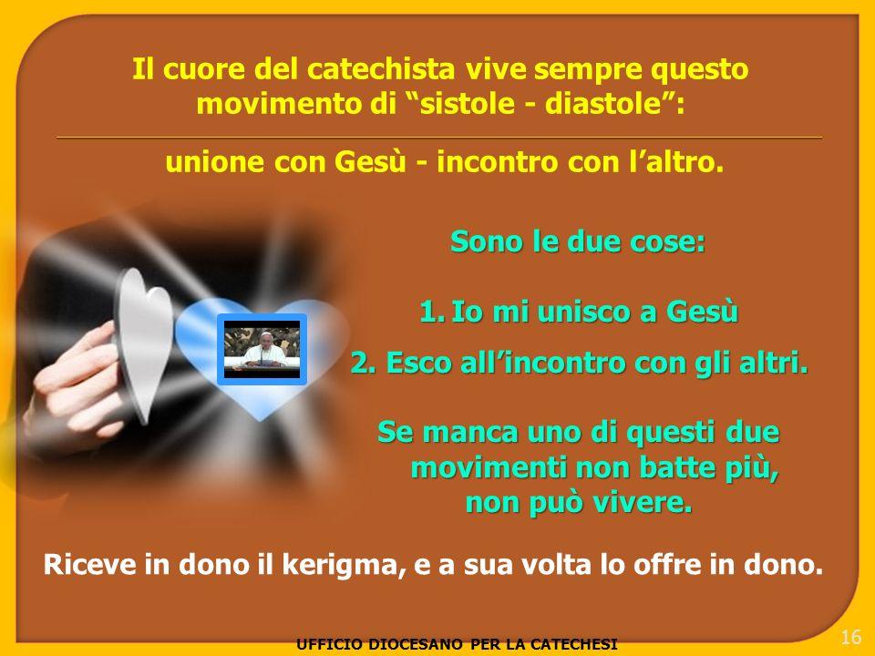 UFFICIO DIOCESANO PER LA CATECHESI 16 Il cuore del catechista vive sempre questo movimento di sistole - diastole: unione con Gesù - incontro con laltro.