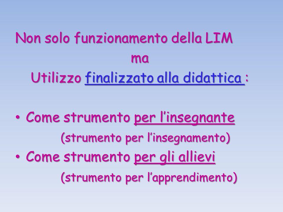 Non solo funzionamento della LIM ma Utilizzo finalizzato alla didattica : Come strumento per linsegnante (strumento per linsegnamento) Come strumento