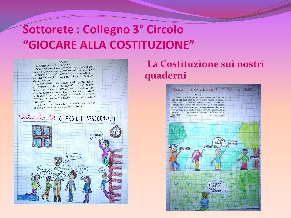 Sottorete : Collegno 3° Circolo GIOCARE ALLA COSTITUZIONE La Costituzione sui nostri quaderni