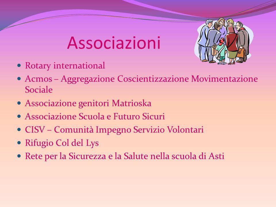 Associazioni Rotary international Acmos – Aggregazione Coscientizzazione Movimentazione Sociale Associazione genitori Matrioska Associazione Scuola e