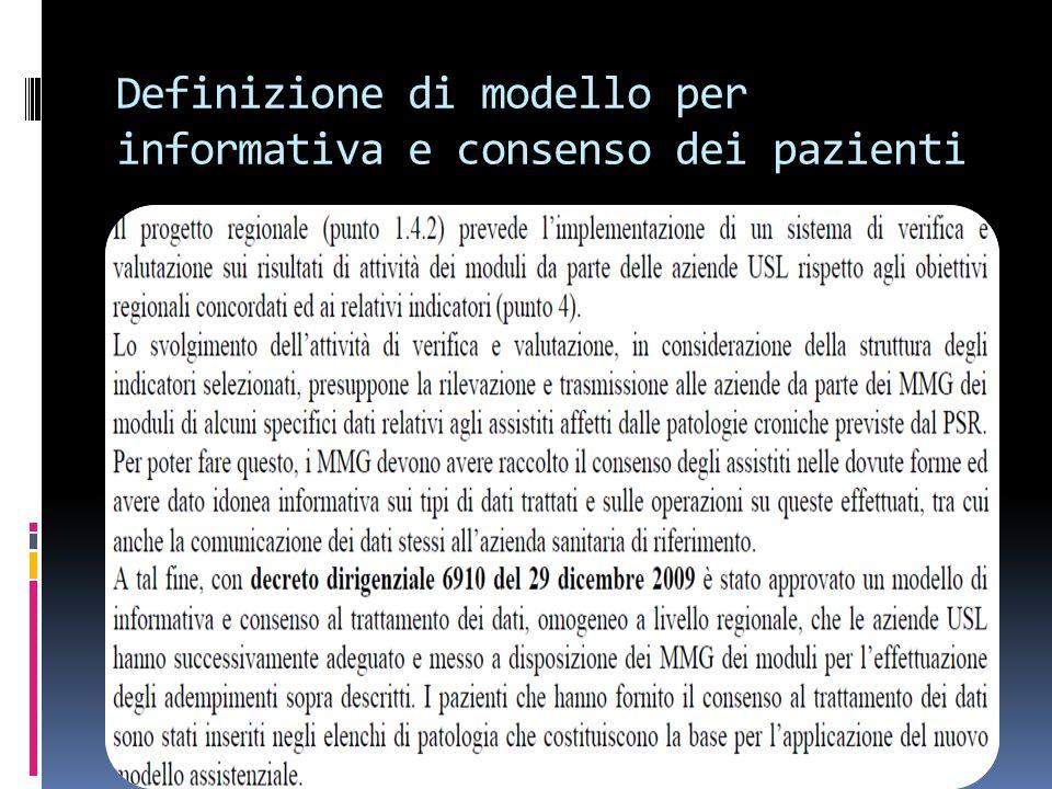Definizione di modello per informativa e consenso dei pazienti