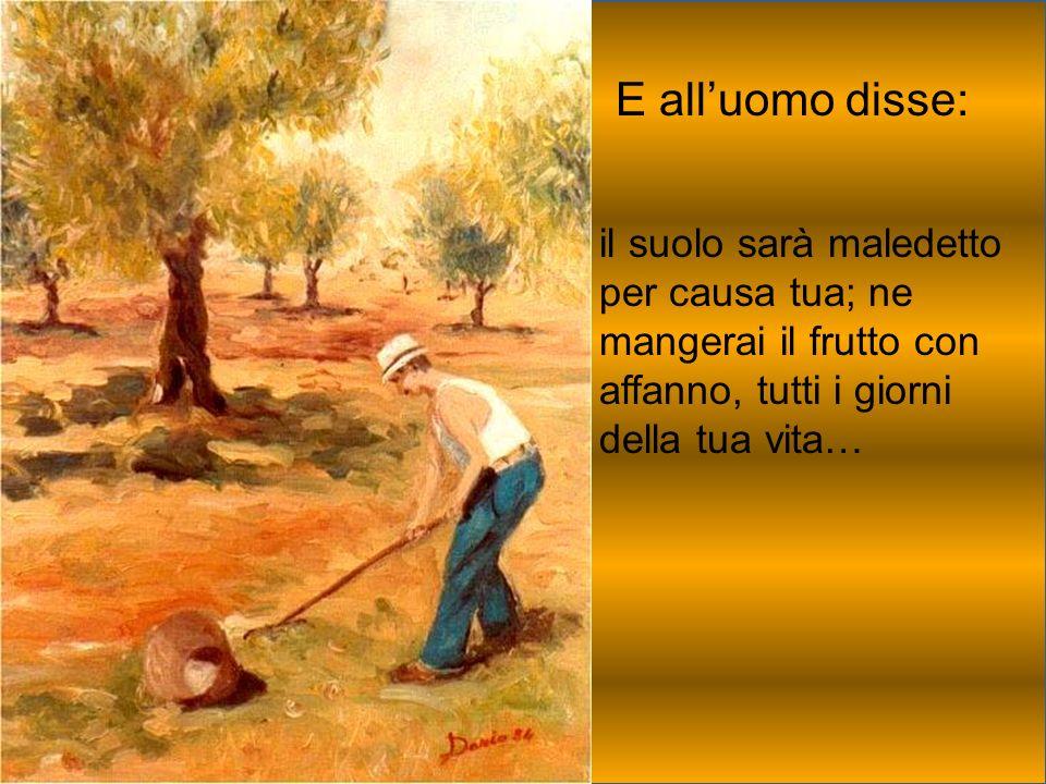 E alluomo disse: il suolo sarà maledetto per causa tua; ne mangerai il frutto con affanno, tutti i giorni della tua vita…