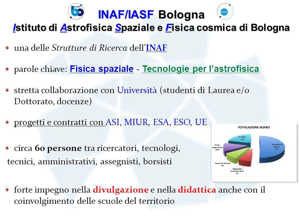 INAF/IASF Bologna Istituto di Astrofisica Spaziale e Fisica cosmica di Bologna una delle Strutture di Ricerca dellINAF parole chiave: Fisica spaziale