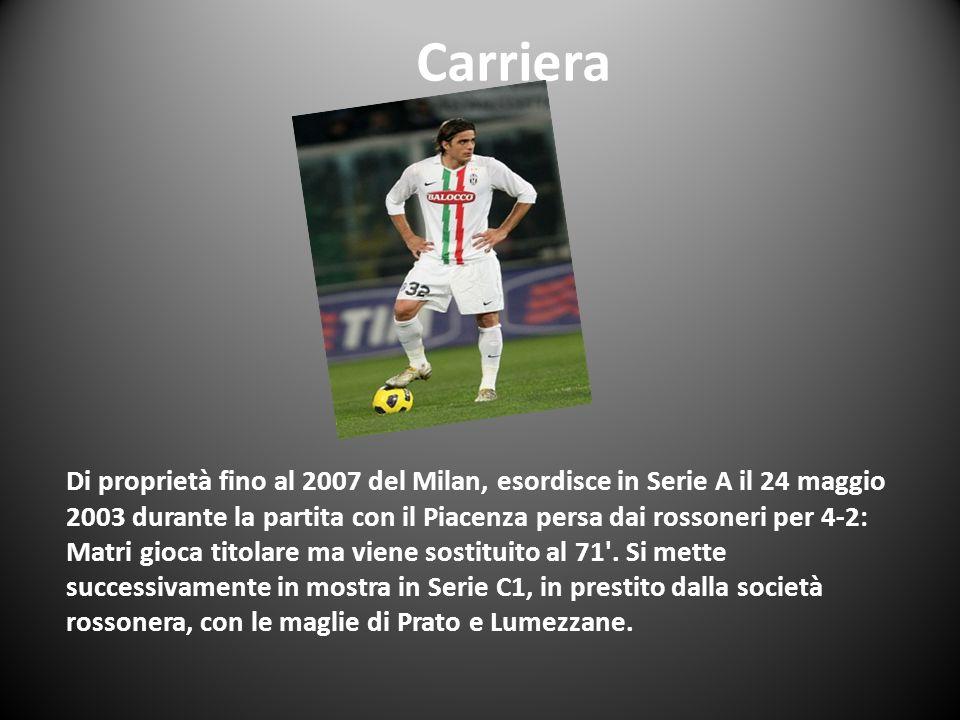 Carriera Di proprietà fino al 2007 del Milan, esordisce in Serie A il 24 maggio 2003 durante la partita con il Piacenza persa dai rossoneri per 4-2: M