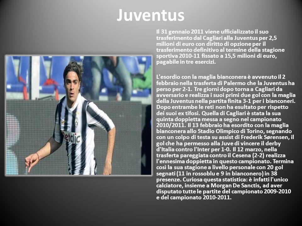 Juventus Il 31 gennaio 2011 viene ufficializzato il suo trasferimento dal Cagliari alla Juventus per 2,5 milioni di euro con diritto di opzione per il