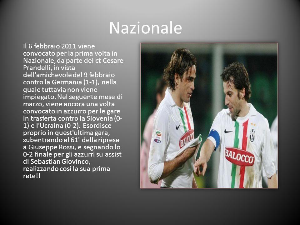 Nazionale Il 6 febbraio 2011 viene convocato per la prima volta in Nazionale, da parte del ct Cesare Prandelli, in vista dell'amichevole del 9 febbrai