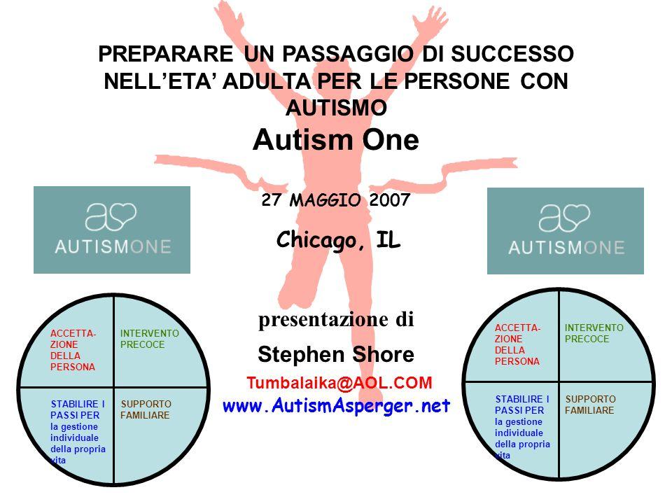 1 PREPARARE UN PASSAGGIO DI SUCCESSO NELLETA ADULTA PER LE PERSONE CON AUTISMO Autism One 27 MAGGIO 2007 Chicago, IL presentazione di Stephen Shore Tu