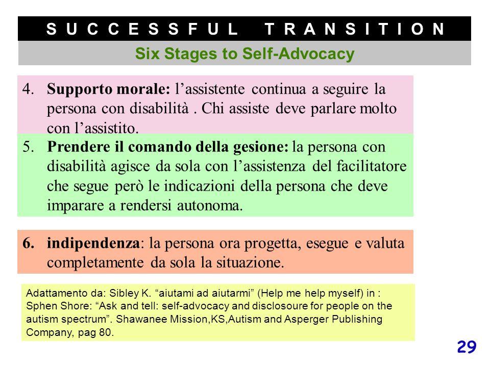 29 S U C C E S S F U L T R A N S I T I O N Six Stages to Self-Advocacy 4.Supporto morale: lassistente continua a seguire la persona con disabilità. Ch