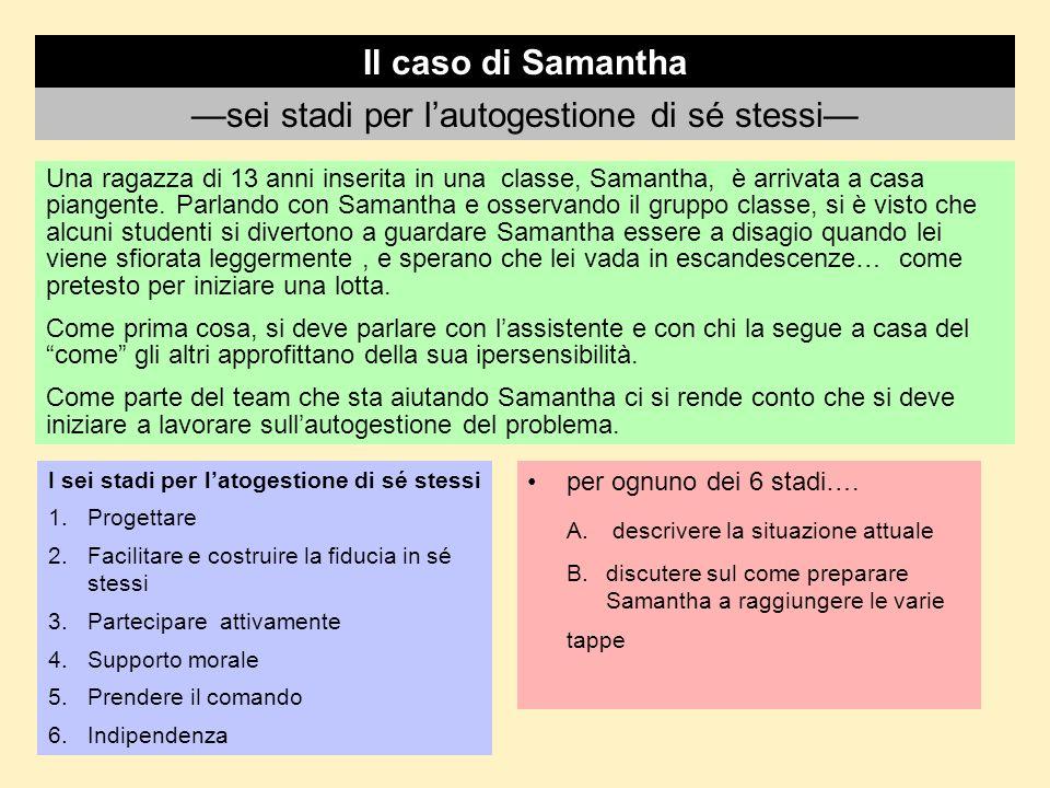 Il caso di Samantha Una ragazza di 13 anni inserita in una classe, Samantha, è arrivata a casa piangente. Parlando con Samantha e osservando il gruppo